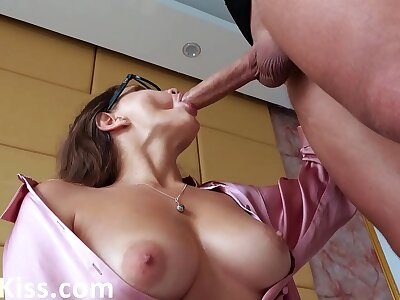 Babe Sloppy Deepthroat Big Dick and Cum in Mouth While Husband encouragement under way