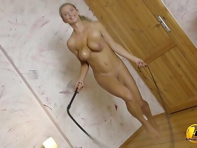 Oiled Boobs and Exercise jumping running when my boobs slapping