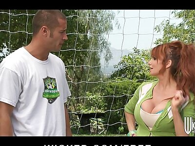 Big-tit British redhead Soccer mom Lia Lor fucks say no to son's coach